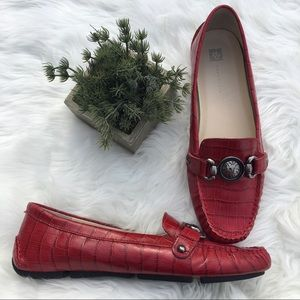 Anne Klein Red Leather Croc Loafer Size 9.5M